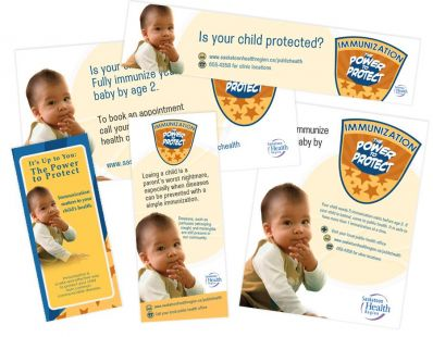 Saskatoon Health Region Immunization Campaign materials – created at Tap Communications